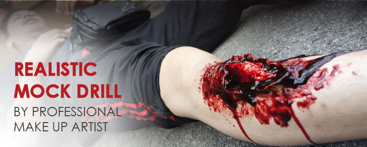 Realistic Mock Drill First Aid Training by Professional Make Up Artist