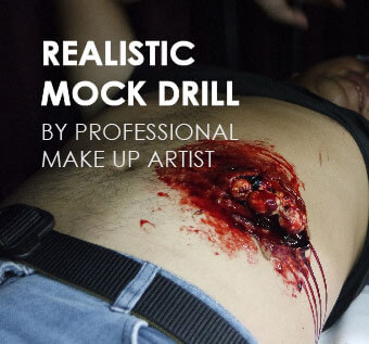 Realistic Mock Drill by Professional Make Up Artist for First Aid Training
